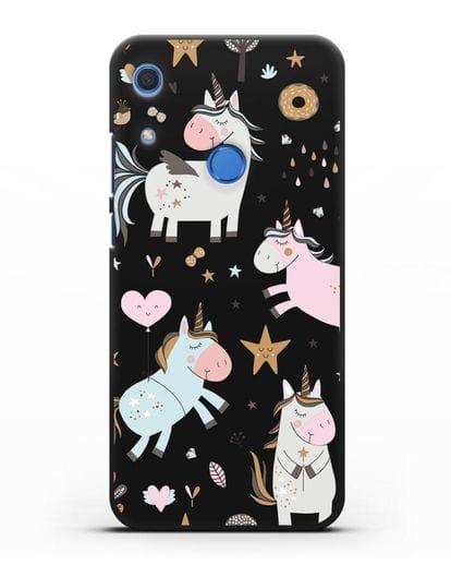 Чехол с дизайном Единороги из мира снов силикон черный для Huawei Y6s