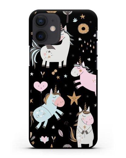Чехол с дизайном Единороги из мира снов силикон черный для iPhone 12 mini
