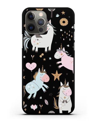 Чехол с дизайном Единороги из мира снов силикон черный для iPhone 12 Pro