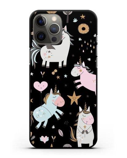 Чехол с дизайном Единороги из мира снов силикон черный для iPhone 12 Pro Max