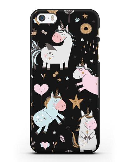 Чехол с дизайном Единороги из мира снов силикон черный для iPhone 5/5s/SE