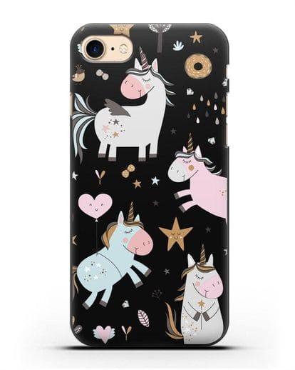 Чехол с дизайном Единороги из мира снов силикон черный для iPhone SE 2020