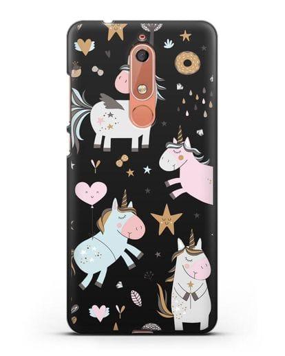 Чехол с дизайном Единороги из мира снов силикон черный для Nokia 5.1