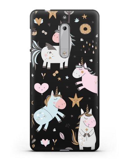 Чехол с дизайном Единороги из мира снов силикон черный для Nokia 5