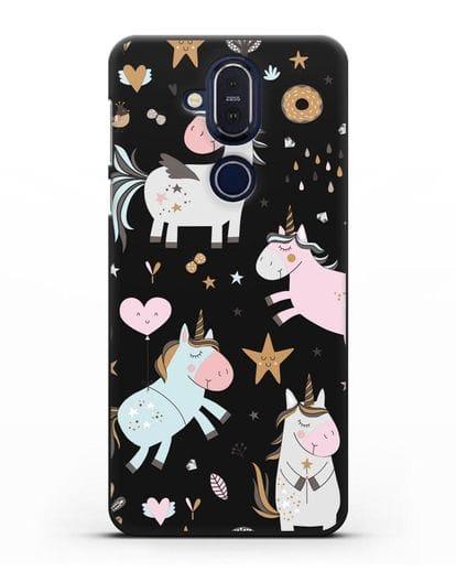 Чехол с дизайном Единороги из мира снов силикон черный для Nokia 7.1 plus