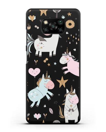 Чехол с дизайном Единороги из мира снов силикон черный для Xiaomi Poco X3