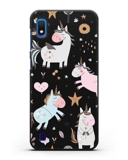 Чехол с дизайном Единороги из мира снов силикон черный для Samsung Galaxy A10 [SM-A105F]