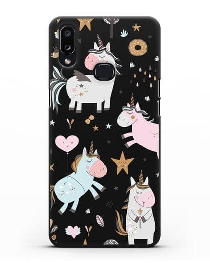 Чехол с дизайном Единороги из мира снов силикон черный для Samsung Galaxy A10s [SM-F107F]