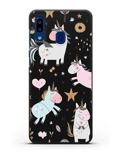 Чехол с дизайном Единороги из мира снов силикон черный для Samsung Galaxy A20 [SM-A205FN]