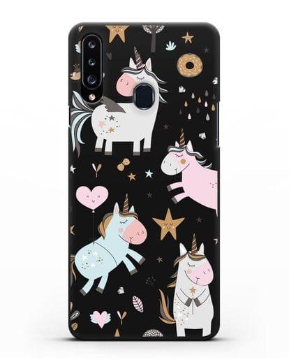Чехол с дизайном Единороги из мира снов силикон черный для Samsung Galaxy A20s [SM-A207FN]