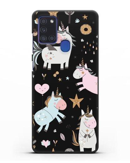 Чехол с дизайном Единороги из мира снов силикон черный для Samsung Galaxy A21s [SM-A217F]