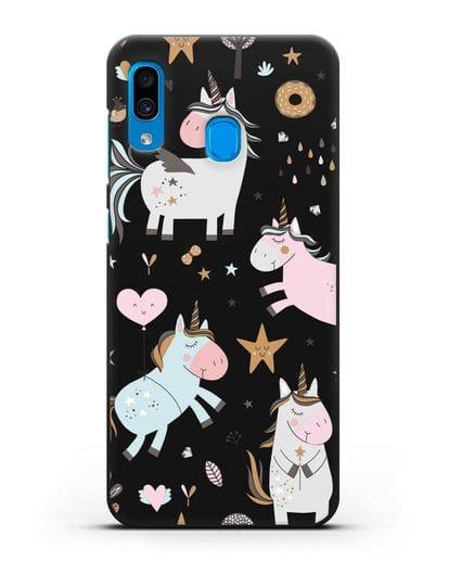 Чехол с дизайном Единороги из мира снов силикон черный для Samsung Galaxy A30 [SM-A305FN]