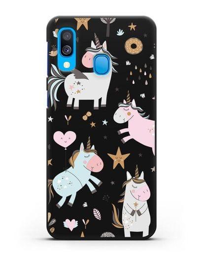 Чехол с дизайном Единороги из мира снов силикон черный для Samsung Galaxy A40 [SM-A405F]