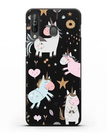 Чехол с дизайном Единороги из мира снов силикон черный для Samsung Galaxy A40s [SM-A507FN]