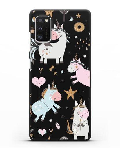 Чехол с дизайном Единороги из мира снов силикон черный для Samsung Galaxy A41 [SM-A415F]
