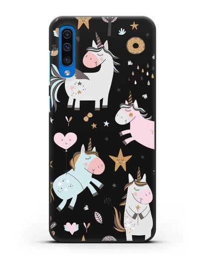 Чехол с дизайном Единороги из мира снов силикон черный для Samsung Galaxy A50 [SM-A505F]