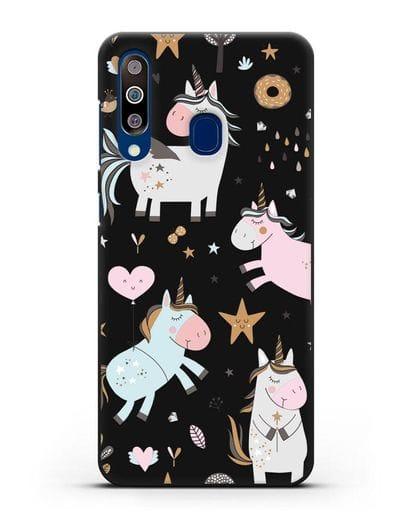 Чехол с дизайном Единороги из мира снов силикон черный для Samsung Galaxy A60 [SM-A606F]