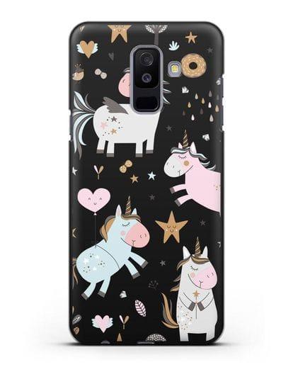 Чехол с дизайном Единороги из мира снов силикон черный для Samsung Galaxy A6 Plus 2018 [SM-A605F]