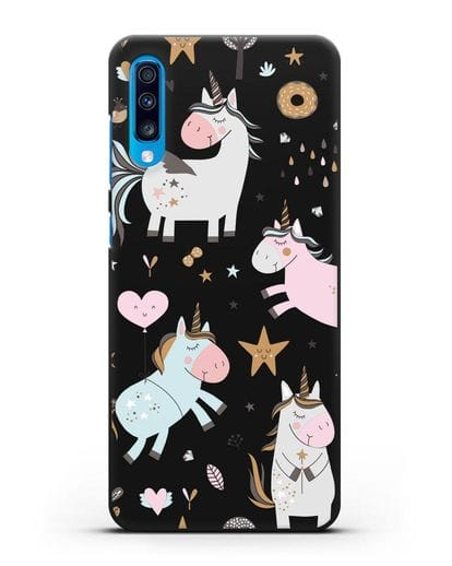 Чехол с дизайном Единороги из мира снов силикон черный для Samsung Galaxy A70 [SM-A705F]