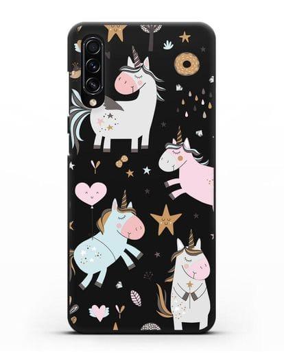 Чехол с дизайном Единороги из мира снов силикон черный для Samsung Galaxy A70s [SM-A707F]