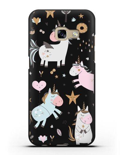 Чехол с дизайном Единороги из мира снов силикон черный для Samsung Galaxy A7 2017 [SM-A720F]