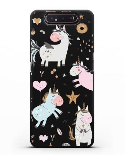 Чехол с дизайном Единороги из мира снов силикон черный для Samsung Galaxy A80 [SM-A805F]