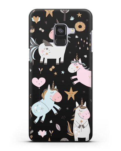 Чехол с дизайном Единороги из мира снов силикон черный для Samsung Galaxy A8 Plus [SM-A730F]