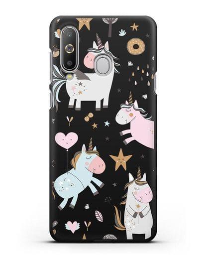 Чехол с дизайном Единороги из мира снов силикон черный для Samsung Galaxy A8s [SM-G8870]