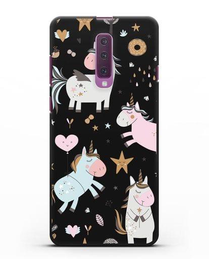Чехол с дизайном Единороги из мира снов силикон черный для Samsung Galaxy A90 [SM-A908N]