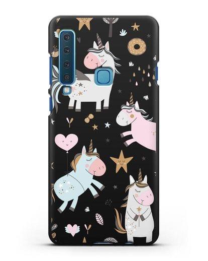 Чехол с дизайном Единороги из мира снов силикон черный для Samsung Galaxy A9 (2018) [SM-A920]
