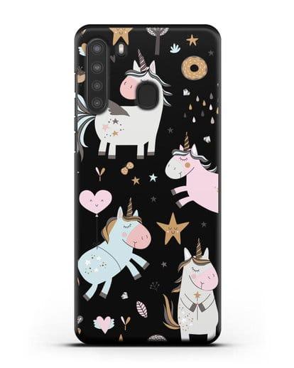 Чехол с дизайном Единороги из мира снов силикон черный для Samsung Galaxy A21 [SM-A215]