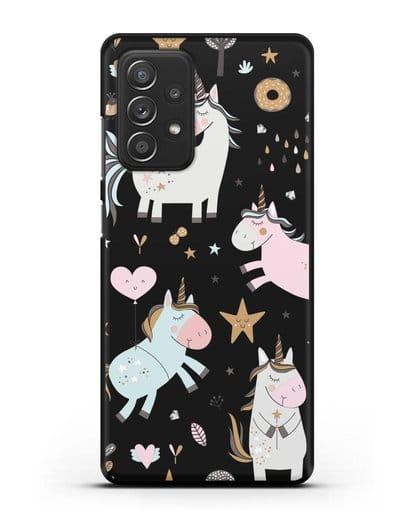 Чехол с дизайном Единороги из мира снов силикон черный для Samsung Galaxy A52 [SM-A525F]