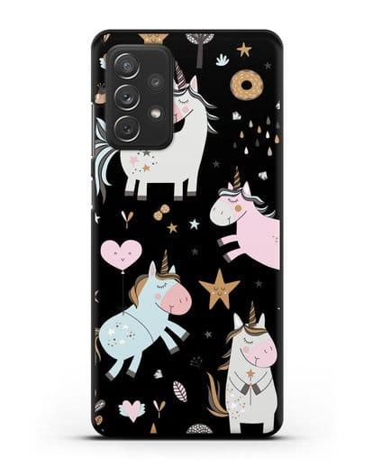 Чехол с дизайном Единороги из мира снов силикон черный для Samsung Galaxy A72 [SM-A725F]