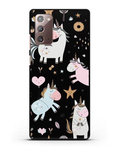 Чехол с дизайном Единороги из мира снов силикон черный для Samsung Galaxy Note 20 [SM-N980F]