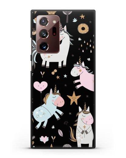 Чехол с дизайном Единороги из мира снов силикон черный для Samsung Galaxy Note 20 Ultra [SM-N985F]