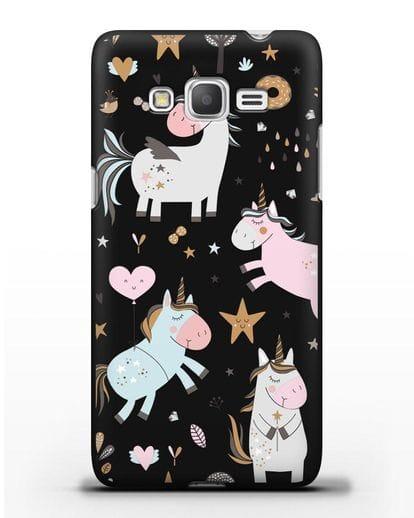 Чехол с дизайном Единороги из мира снов силикон черный для Samsung Galaxy Grand Prime [SM-G530]
