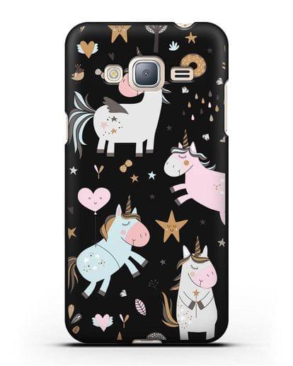 Чехол с дизайном Единороги из мира снов силикон черный для Samsung Galaxy J3 2016 [SM-J320F]
