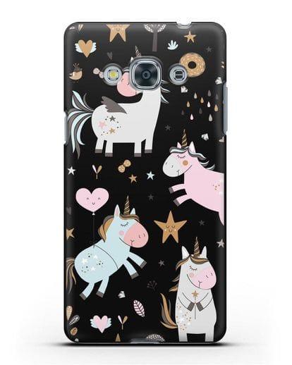 Чехол с дизайном Единороги из мира снов силикон черный для Samsung Galaxy J3 Pro [SM-J3110]