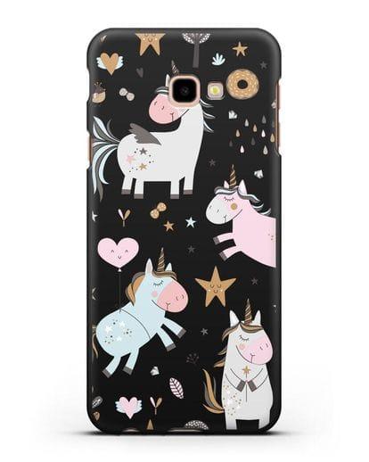 Чехол с дизайном Единороги из мира снов силикон черный для Samsung Galaxy J4 Plus [SM-J415]