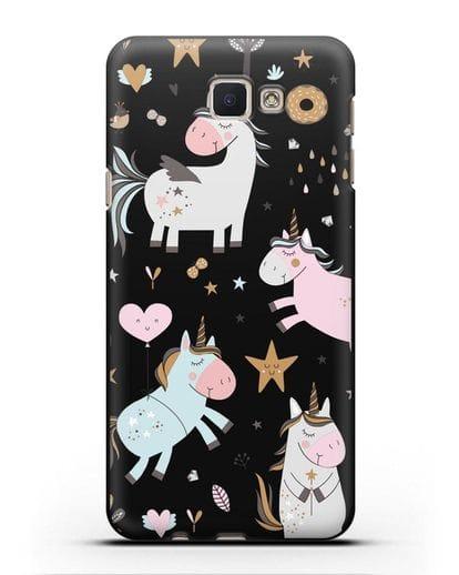 Чехол с дизайном Единороги из мира снов силикон черный для Samsung Galaxy J5 Prime [SM-G570]
