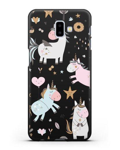 Чехол с дизайном Единороги из мира снов силикон черный для Samsung Galaxy J6 Plus [SM-J610F]