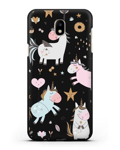 Чехол с дизайном Единороги из мира снов силикон черный для Samsung Galaxy J7 2017 [SM-J720F]