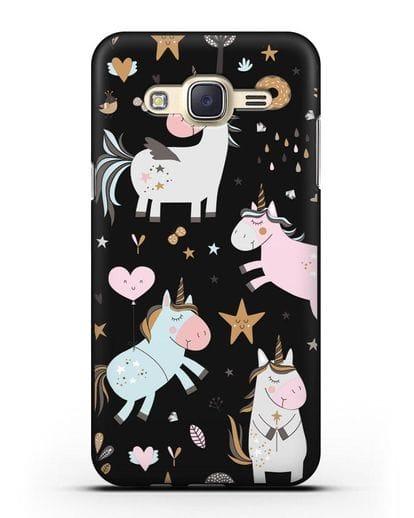 Чехол с дизайном Единороги из мира снов силикон черный для Samsung Galaxy J7 Neo [SM-J701F]