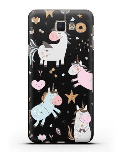 Чехол с дизайном Единороги из мира снов силикон черный для Samsung Galaxy J7 Prime [SM-G610F]