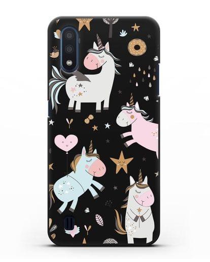 Чехол с дизайном Единороги из мира снов силикон черный для Samsung Galaxy M01 [SM-M015F]