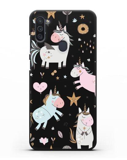 Чехол с дизайном Единороги из мира снов силикон черный для Samsung Galaxy M11 [SM-M115F]