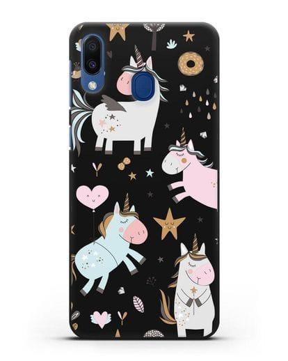 Чехол с дизайном Единороги из мира снов силикон черный для Samsung Galaxy M20 [SM-M205F]