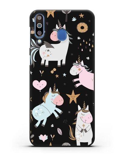 Чехол с дизайном Единороги из мира снов силикон черный для Samsung Galaxy M30 [SM-M305F]