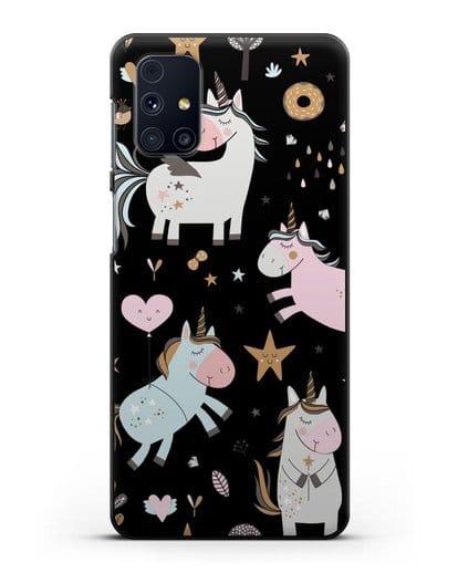 Чехол с дизайном Единороги из мира снов силикон черный для Samsung Galaxy M31s [SM-M317F]