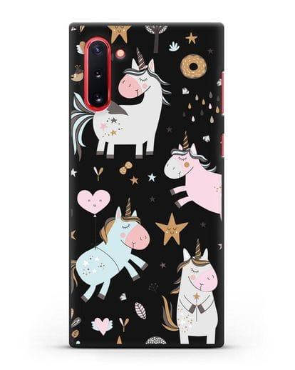 Чехол с дизайном Единороги из мира снов силикон черный для Samsung Galaxy Note 10 [N970F]